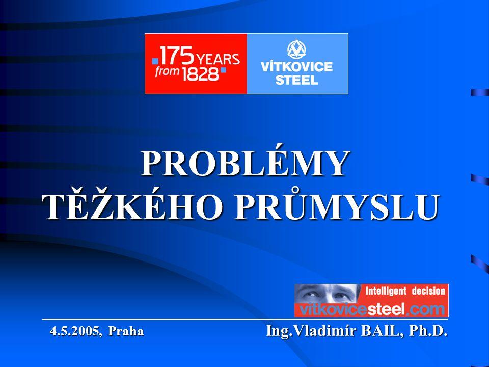PROBLÉMY TĚŽKÉHO PRŮMYSLU PROBLÉMY TĚŽKÉHO PRŮMYSLU Ing.Vladimír BAIL, Ph.D. ___________________________ Ing.Vladimír BAIL, Ph.D. 4.5.2005, Praha