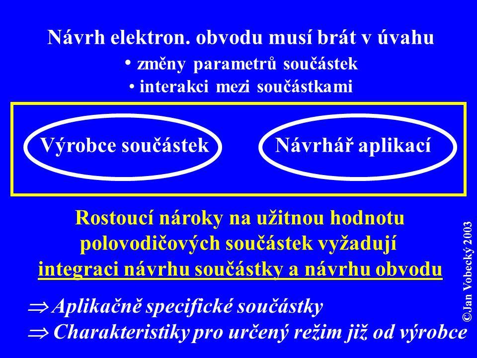  Aplikačně specifické součástky  Charakteristiky pro určený režim již od výrobce Návrh elektron.
