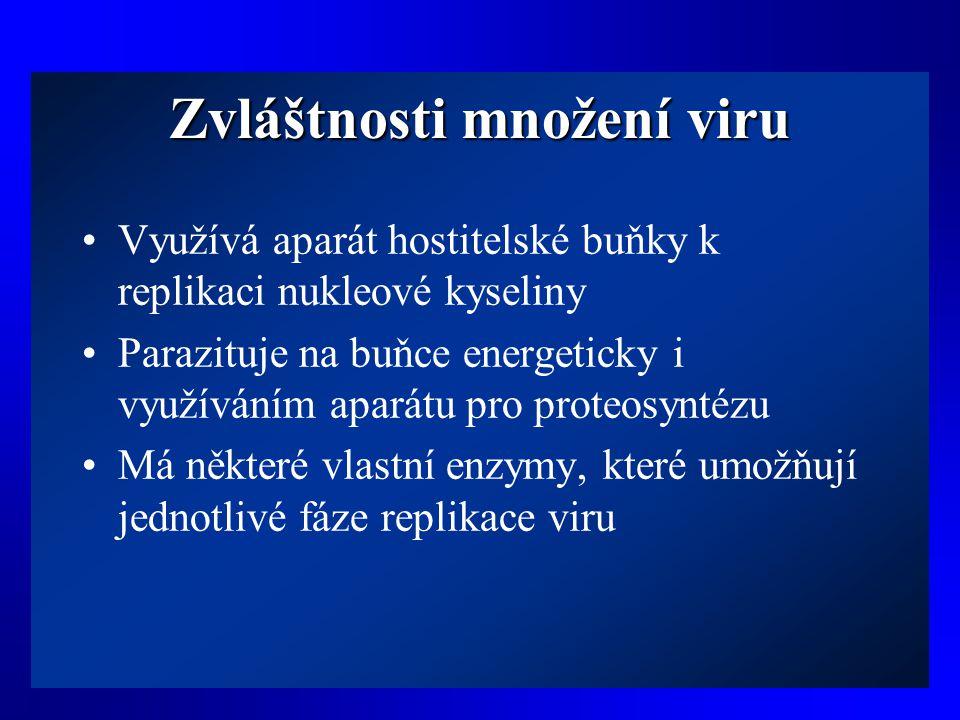 Zvláštnosti množení viru •Využívá aparát hostitelské buňky k replikaci nukleové kyseliny •Parazituje na buňce energeticky i využíváním aparátu pro pro