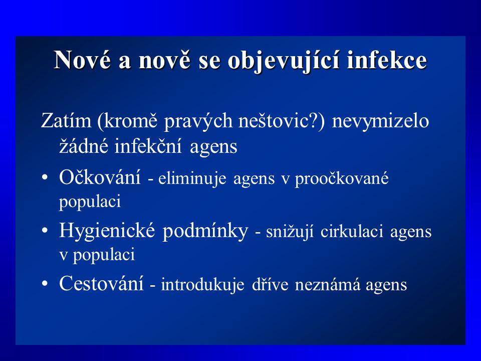 Nové a nově se objevující infekce Zatím (kromě pravých neštovic?) nevymizelo žádné infekční agens •Očkování - eliminuje agens v proočkované populaci •