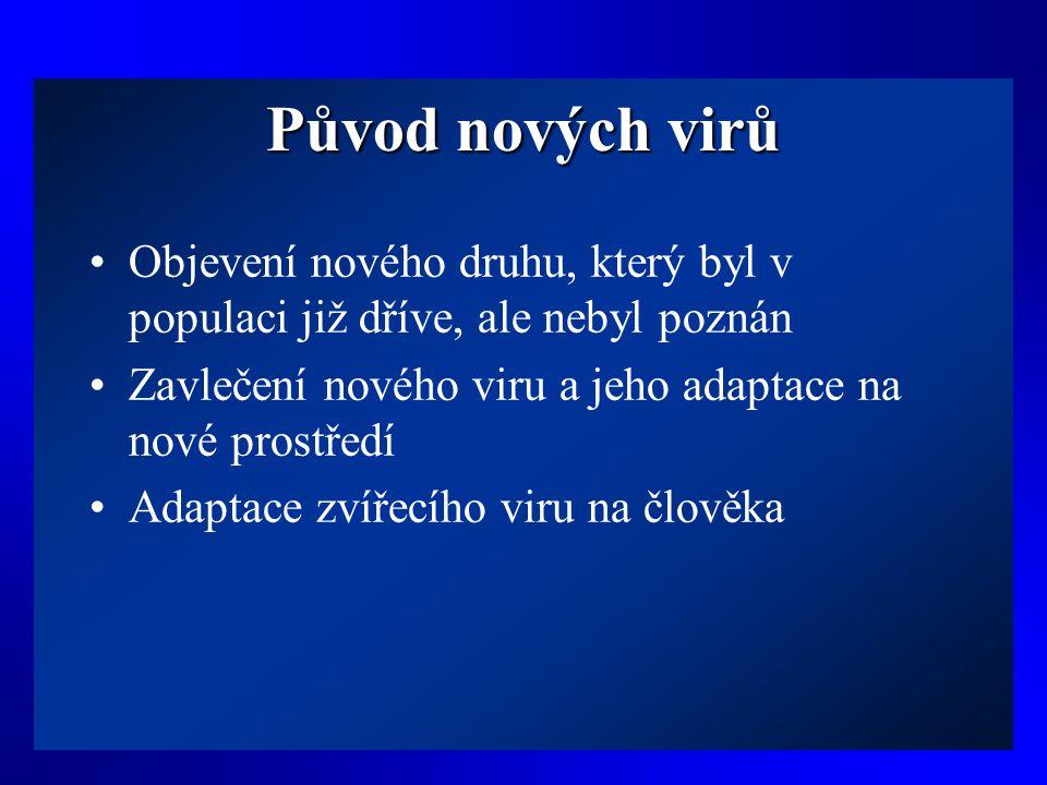 Původ nových virů •Objevení nového druhu, který byl v populaci již dříve, ale nebyl poznán •Zavlečení nového viru a jeho adaptace na nové prostředí •A