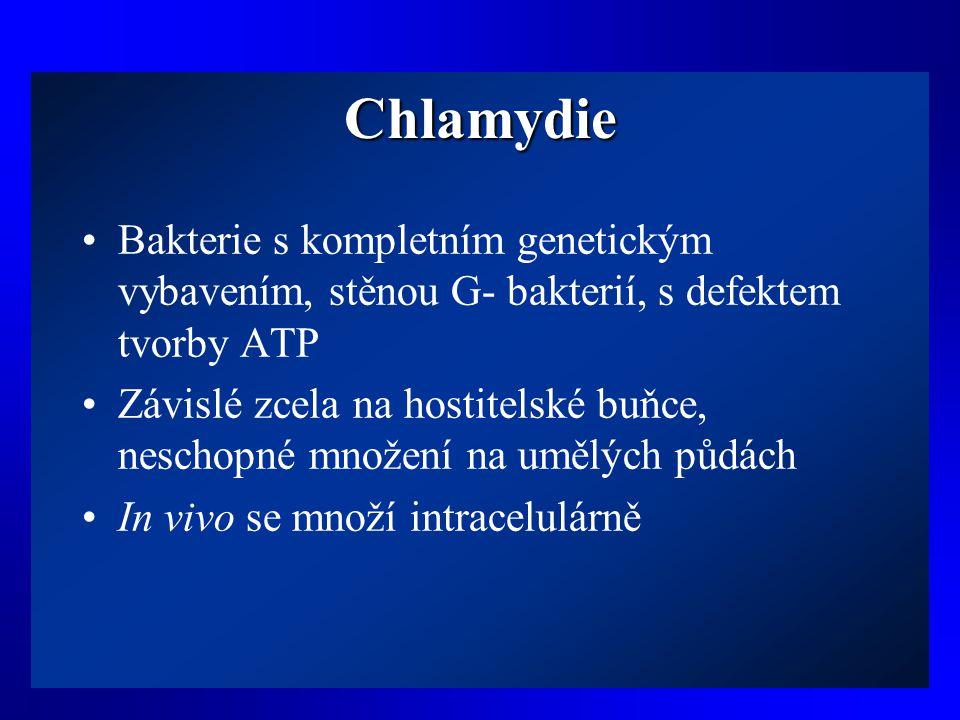 Chlamydie •Bakterie s kompletním genetickým vybavením, stěnou G- bakterií, s defektem tvorby ATP •Závislé zcela na hostitelské buňce, neschopné množen