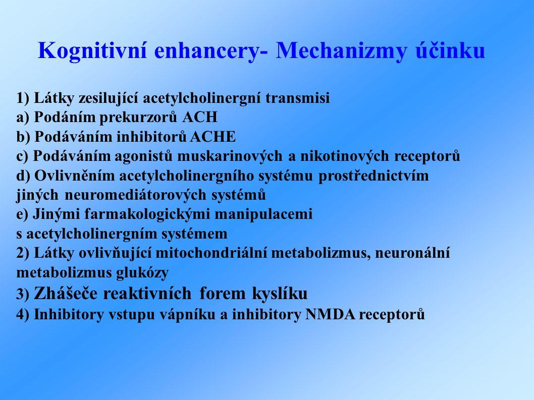 Kognitivní enhancery- Mechanizmy účinku 1) Látky zesilující acetylcholinergní transmisi a) Podáním prekurzorů ACH b) Podáváním inhibitorů ACHE c) Podáváním agonistů muskarinových a nikotinových receptorů d) Ovlivněním acetylcholinergního systému prostřednictvím jinýchneuromediátorových systémů e) Jinými farmakologickými manipulacemi s acetylcholinergnímsystémem 2) Látky ovlivňující mitochondriální metabolizmus, neuronální metabolizmus glukózy 3) Zhášeče reaktivních forem kyslíku 4) Inhibitory vstupu vápníku a inhibitory NMDA receptorů