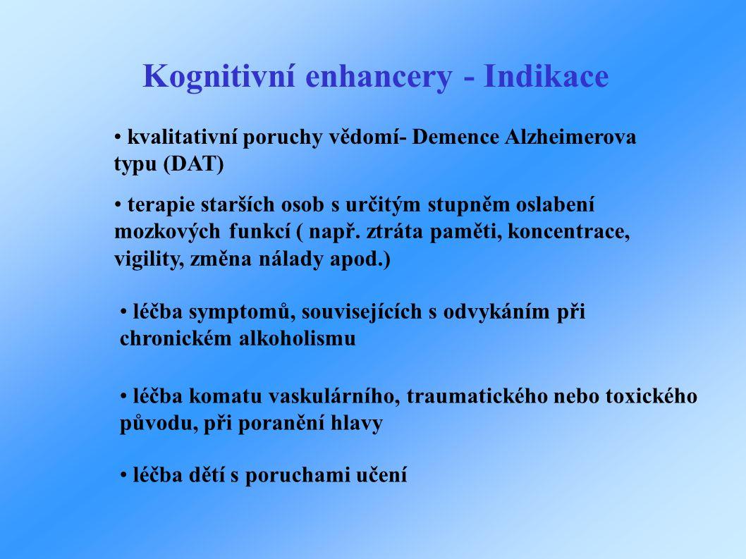 Kognitivní enhancery - Indikace • terapie starších osob s určitým stupněm oslabení mozkových funkcí ( např. ztráta paměti, koncentrace, vigility, změn