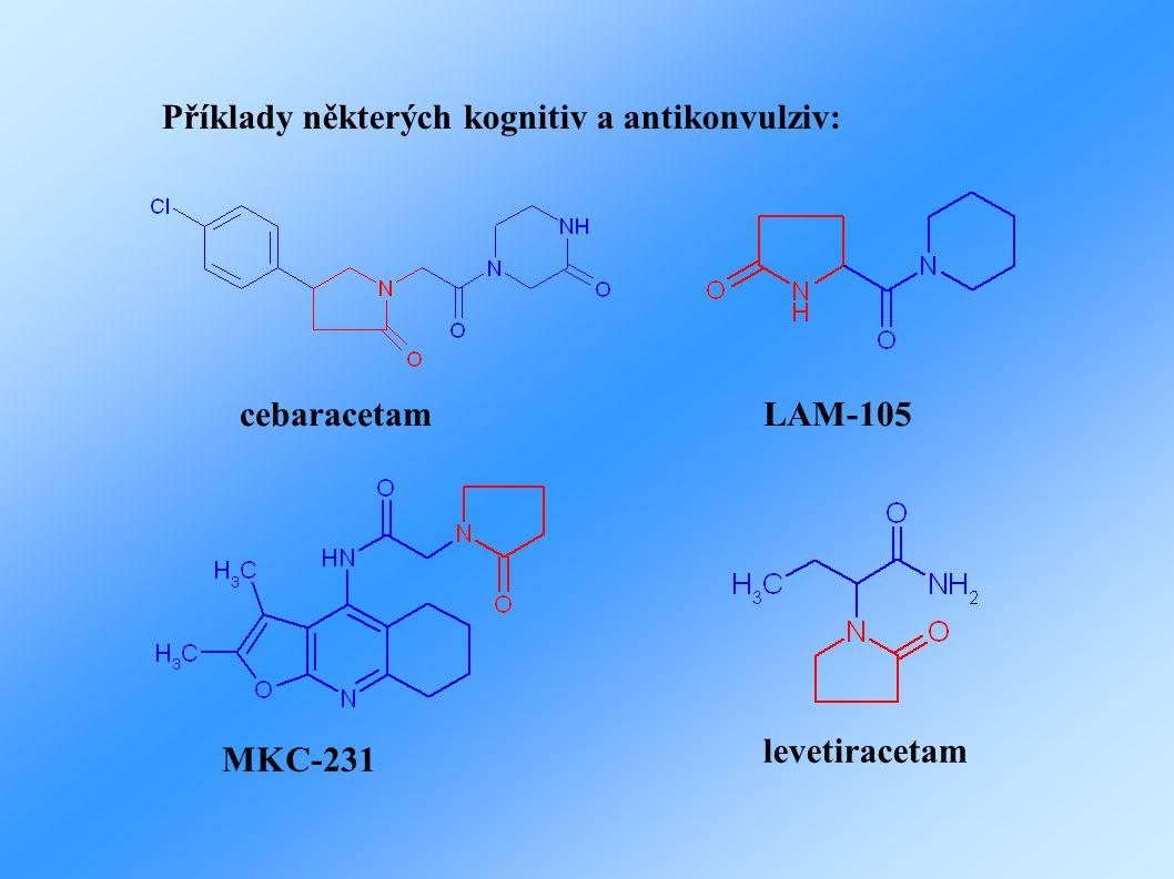 Příklady některých kognitiv a antikonvulziv: cebaracetamLAM-105 MKC-231 levetiracetam