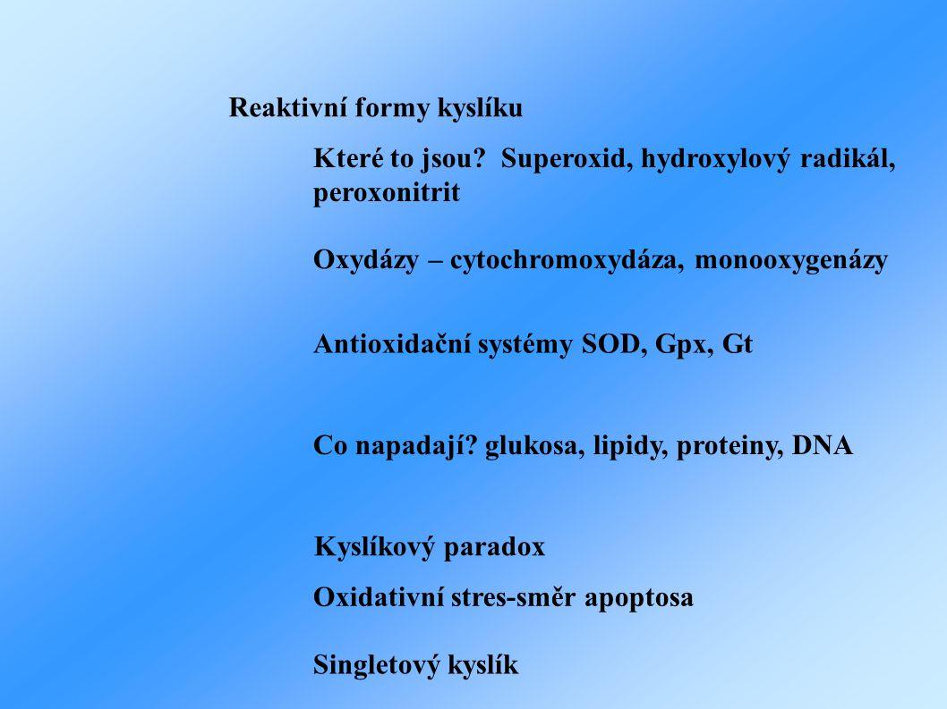 Které to jsou? Superoxid, hydroxylový radikál, peroxonitrit Antioxidační systémy SOD, Gpx, Gt Co napadají? glukosa, lipidy, proteiny, DNA Oxidativní s