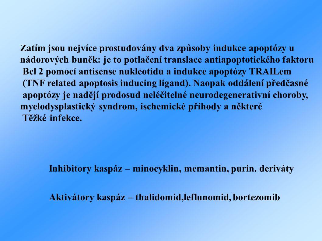 Zatím jsou nejvíce prostudovány dva způsoby indukce apoptózy u nádorových buněk: je to potlačení translace antiapoptotického faktoru Bcl 2 pomocí antisense nukleotidu a indukce apoptózy TRAILem (TNF related apoptosis inducing ligand).