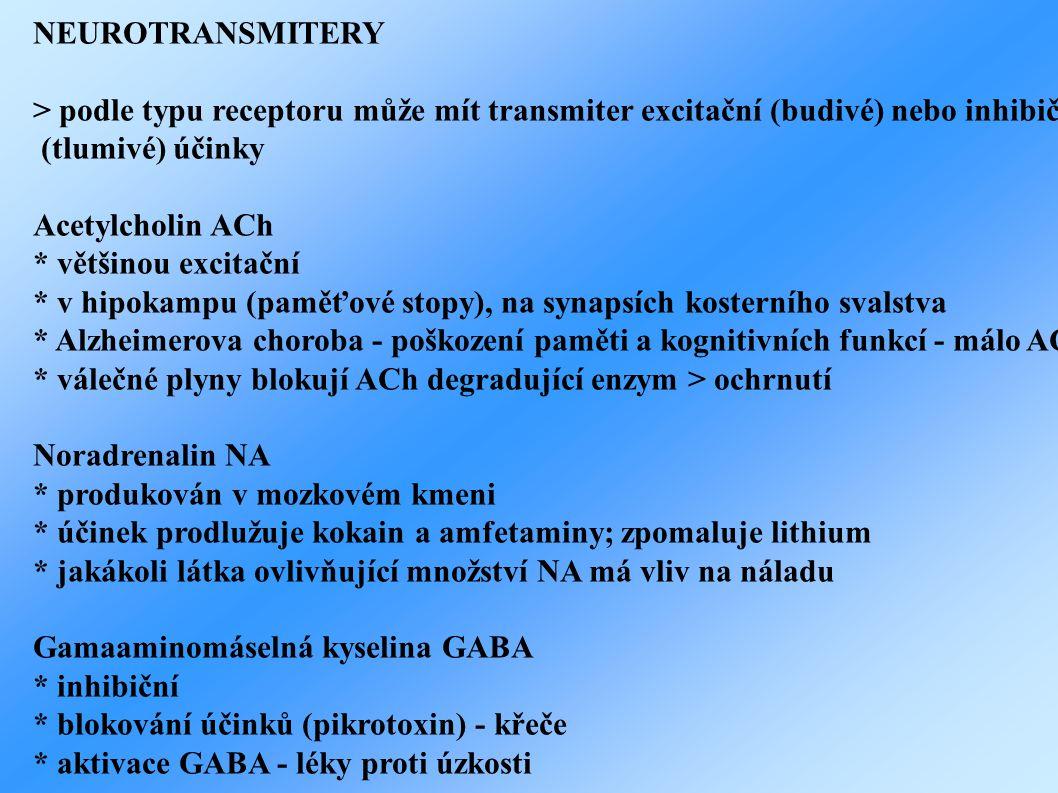 NEUROTRANSMITERY > podle typu receptoru může mít transmiter excitační (budivé) nebo inhibiční (tlumivé) účinky Acetylcholin ACh * většinou excitační * v hipokampu (paměťové stopy), na synapsích kosterního svalstva * Alzheimerova choroba - poškození paměti a kognitivních funkcí - málo ACh * válečné plyny blokují ACh degradující enzym > ochrnutí Noradrenalin NA * produkován v mozkovém kmeni * účinek prodlužuje kokain a amfetaminy; zpomaluje lithium * jakákoli látka ovlivňující množství NA má vliv na náladu Gamaaminomáselná kyselina GABA * inhibiční * blokování účinků (pikrotoxin) - křeče * aktivace GABA - léky proti úzkosti