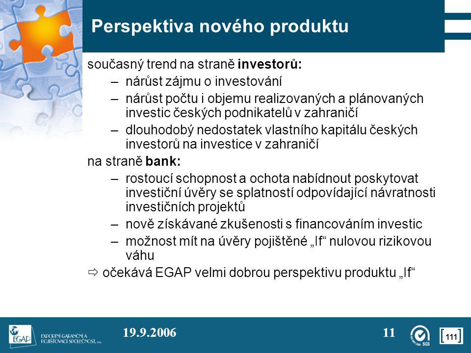 111 19.9.200611 Perspektiva nového produktu současný trend na straně investorů: –nárůst zájmu o investování –nárůst počtu i objemu realizovaných a plá