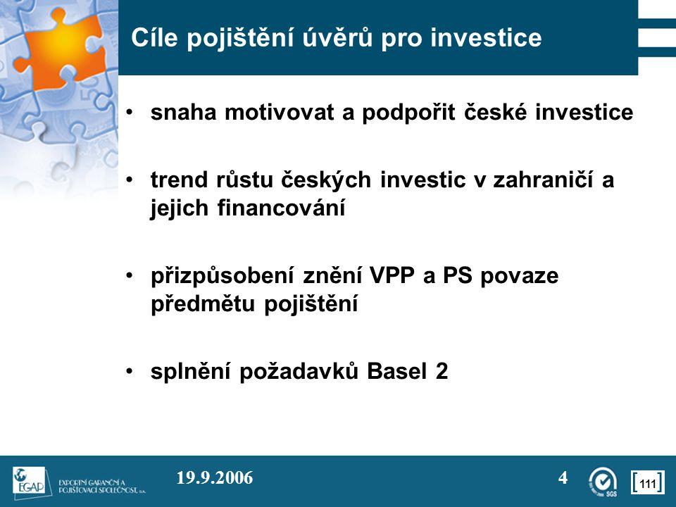 111 19.9.20064 Cíle pojištění úvěrů pro investice •snaha motivovat a podpořit české investice •trend růstu českých investic v zahraničí a jejich financování •přizpůsobení znění VPP a PS povaze předmětu pojištění •splnění požadavků Basel 2