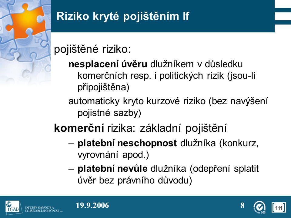 111 19.9.20068 Riziko kryté pojištěním If pojištěné riziko: nesplacení úvěru dlužníkem v důsledku komerčních resp. i politických rizik (jsou-li připoj