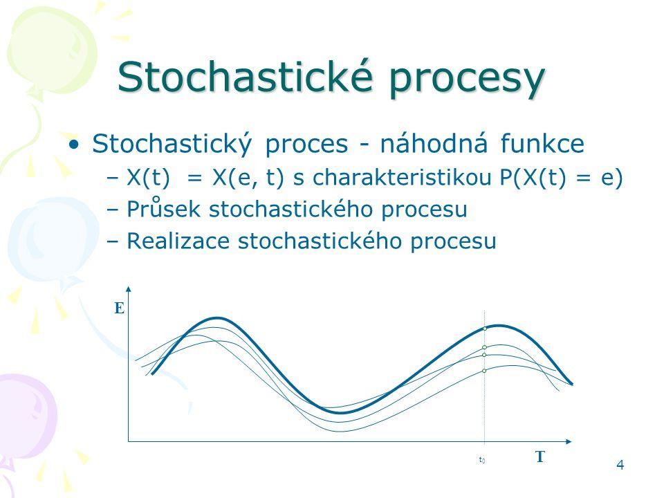 4 Stochastické procesy •Stochastický proces - náhodná funkce –X(t) = X(e, t) s charakteristikou P(X(t) = e) –Průsek stochastického procesu –Realizace