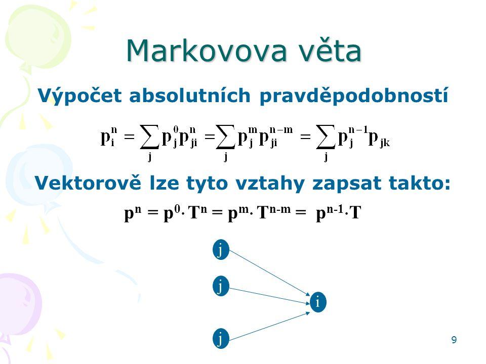 9 Markovova věta Výpočet absolutních pravděpodobností Vektorově lze tyto vztahy zapsat takto: p n = p 0  T n = p m  T n-m = p n-1  T i j j j