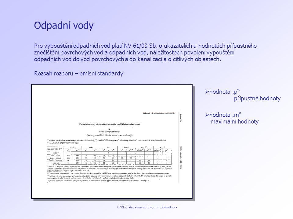Odpadní vody ÚNS - Laboratorní služby, s.r.o., Kutná Hora Pro vypouštění odpadních vod platí NV 61/03 Sb.
