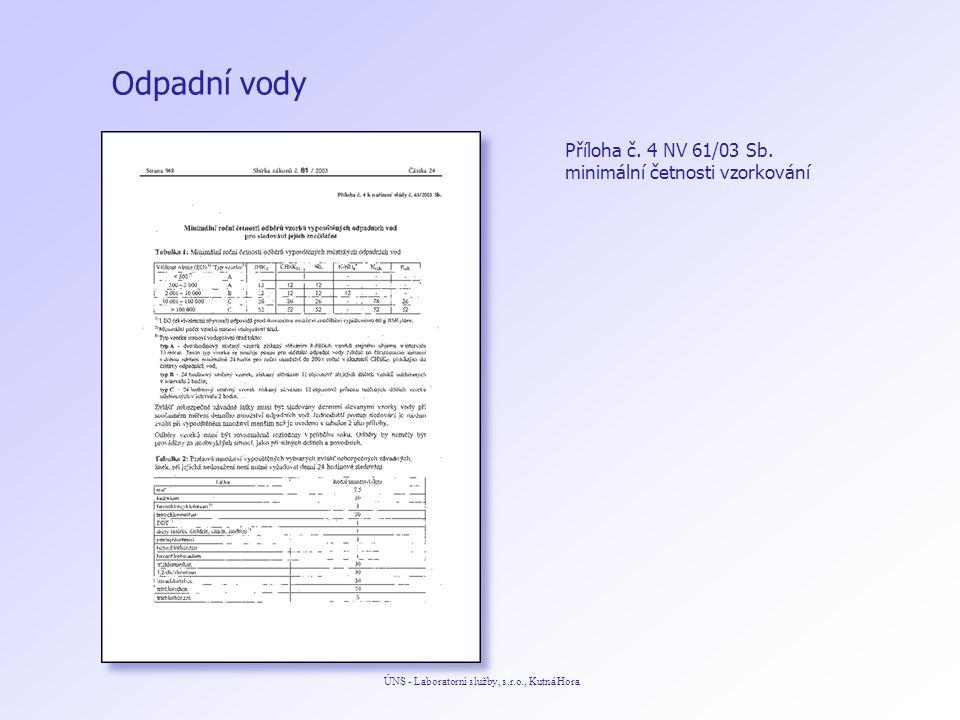 Odpadní vody ÚNS - Laboratorní služby, s.r.o., Kutná Hora Příloha č. 4 NV 61/03 Sb. minimální četnosti vzorkování