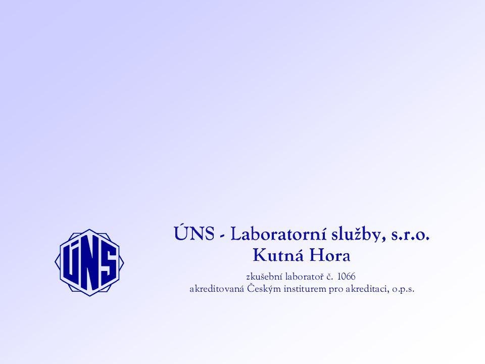 Sedimenty – využití na zemědělské půdě ÚNS - Laboratorní služby, s.r.o., Kutná Hora Vyhláška č.