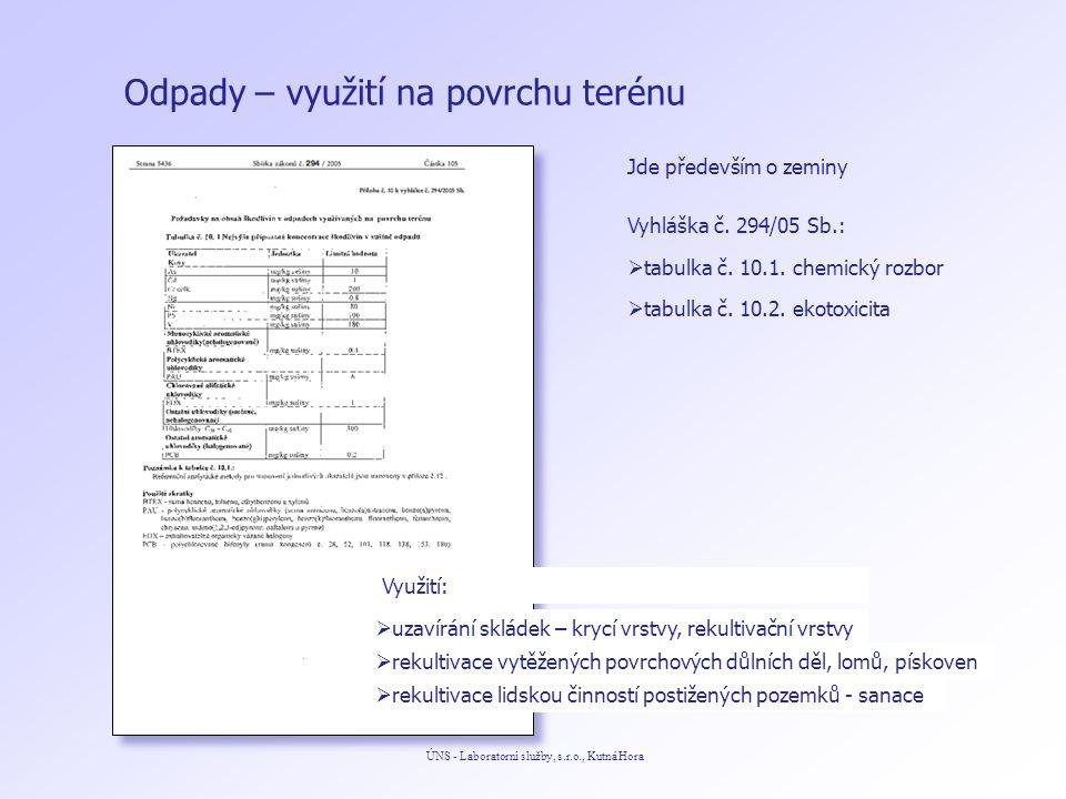 Odpady – využití na povrchu terénu ÚNS - Laboratorní služby, s.r.o., Kutná Hora Jde především o zeminy  tabulka č.