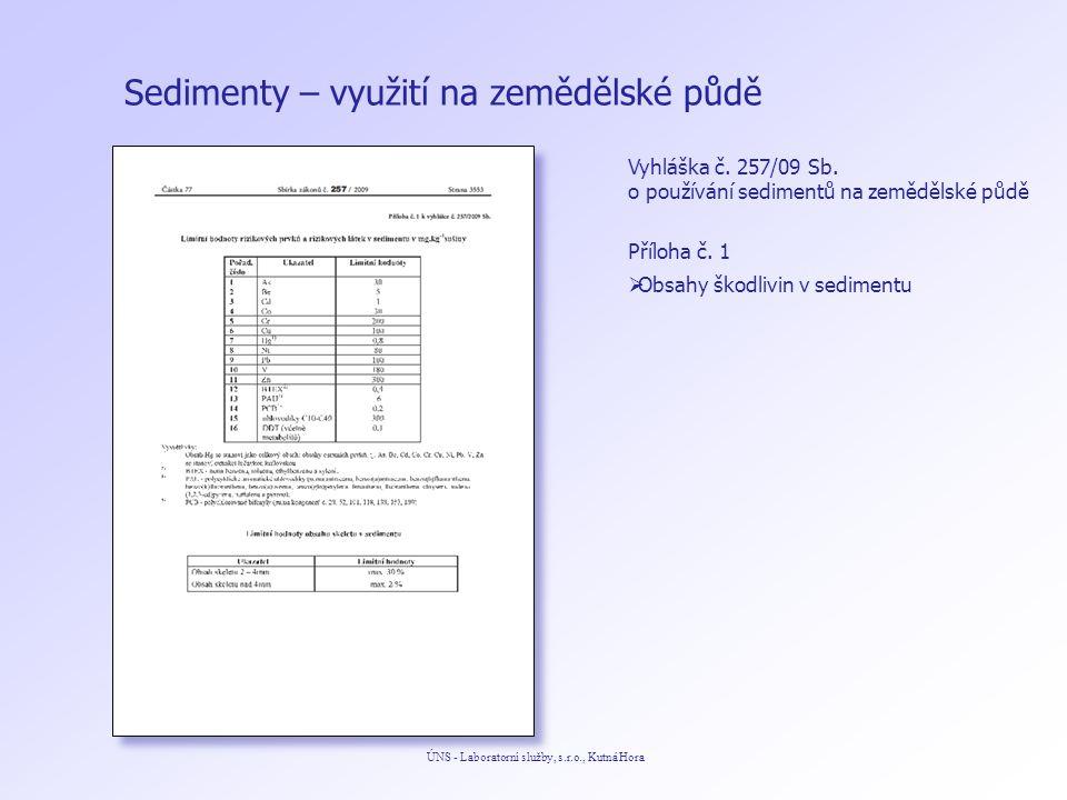 Sedimenty – využití na zemědělské půdě ÚNS - Laboratorní služby, s.r.o., Kutná Hora Vyhláška č. 257/09 Sb. o používání sedimentů na zemědělské půdě Př