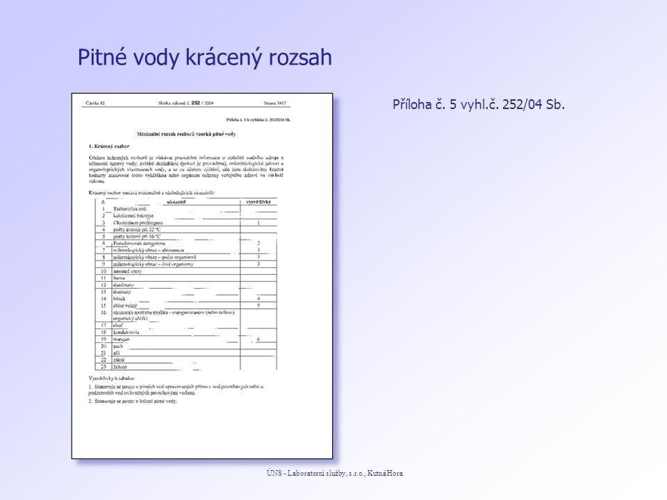 Pitné vody ÚNS - Laboratorní služby, s.r.o., Kutná Hora Příloha č. 5 vyhl.č. 252/04 Sb. krácený rozsah
