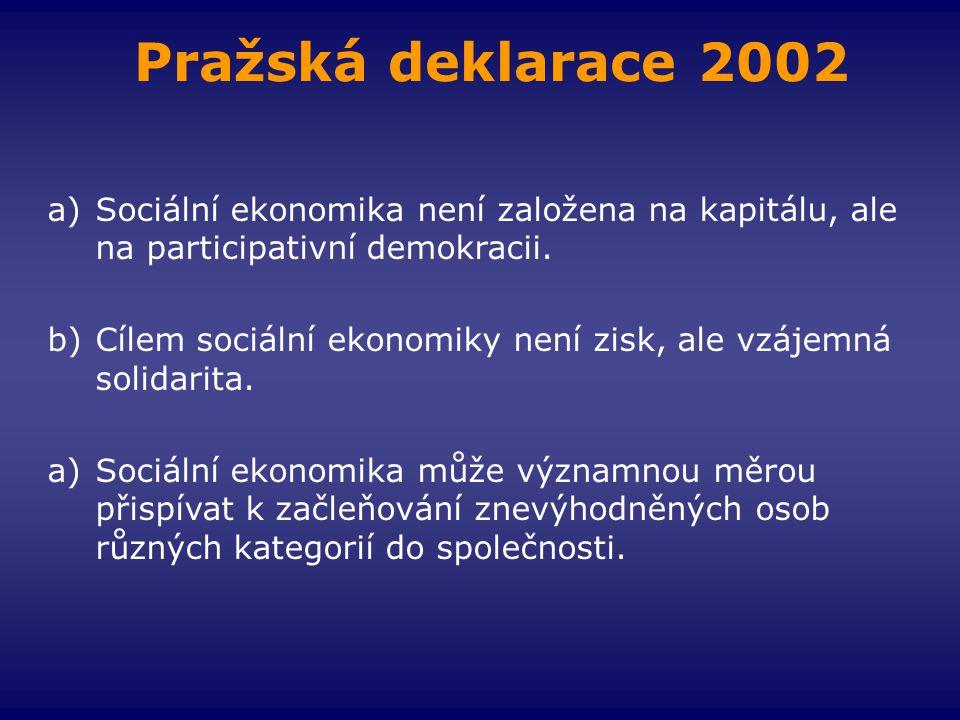 Pražská deklarace 2002 a)Sociální ekonomika není založena na kapitálu, ale na participativní demokracii. b)Cílem sociální ekonomiky není zisk, ale vzá