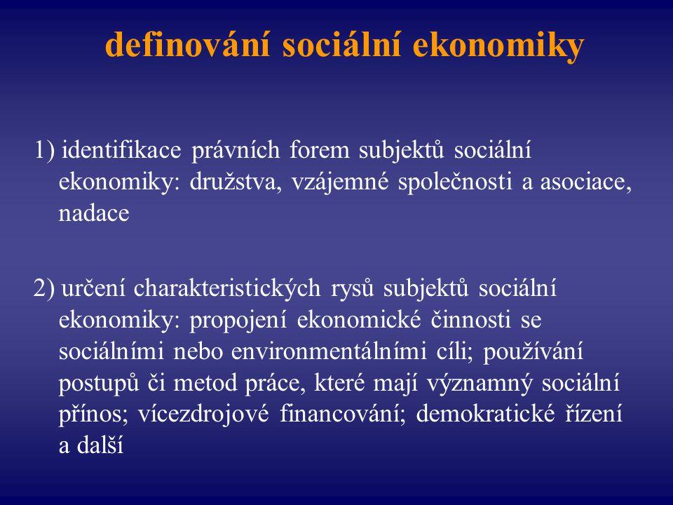 definování sociální ekonomiky 1) identifikace právních forem subjektů sociální ekonomiky: družstva, vzájemné společnosti a asociace, nadace 2) určení