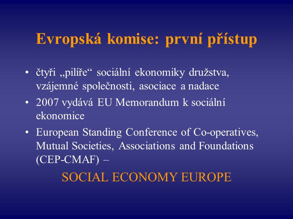"""Evropská komise: první přístup •čtyři """"pilíře"""" sociální ekonomiky družstva, vzájemné společnosti, asociace a nadace •2007 vydává EU Memorandum k sociá"""