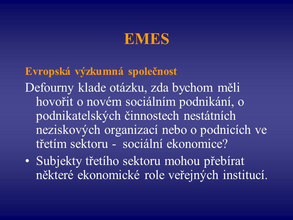 EMES Evropská výzkumná společnost Defourny klade otázku, zda bychom měli hovořit o novém sociálním podnikání, o podnikatelských činnostech nestátních