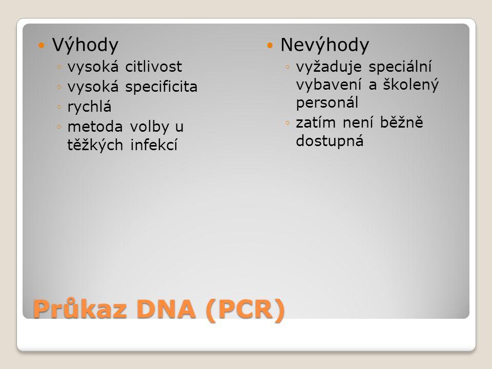 Průkaz DNA (PCR)  Výhody ◦vysoká citlivost ◦vysoká specificita ◦rychlá ◦metoda volby u těžkých infekcí  Nevýhody ◦vyžaduje speciální vybavení a škol
