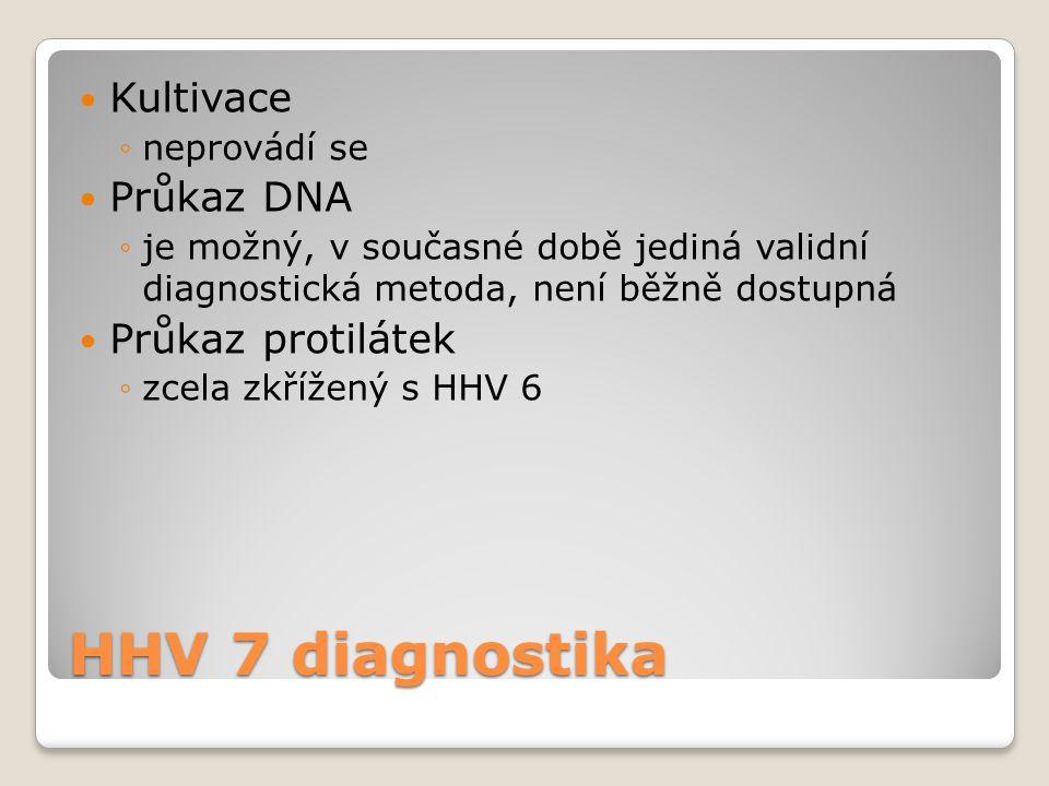 HHV 7 diagnostika  Kultivace ◦neprovádí se  Průkaz DNA ◦je možný, v současné době jediná validní diagnostická metoda, není běžně dostupná  Průkaz p
