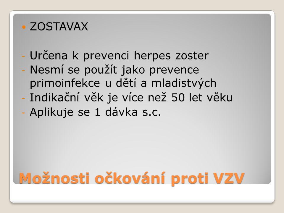 Možnosti očkování proti VZV  ZOSTAVAX - Určena k prevenci herpes zoster - Nesmí se použít jako prevence primoinfekce u dětí a mladistvých - Indikační