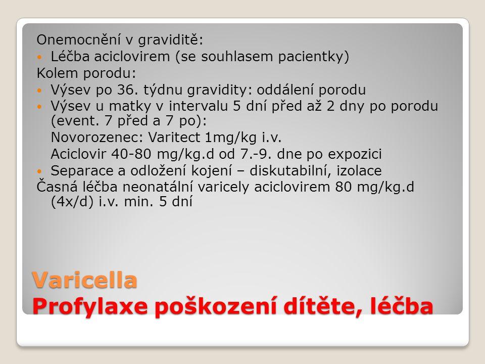 Varicella Profylaxe poškození dítěte, léčba Onemocnění v graviditě:  Léčba aciclovirem (se souhlasem pacientky) Kolem porodu:  Výsev po 36. týdnu gr