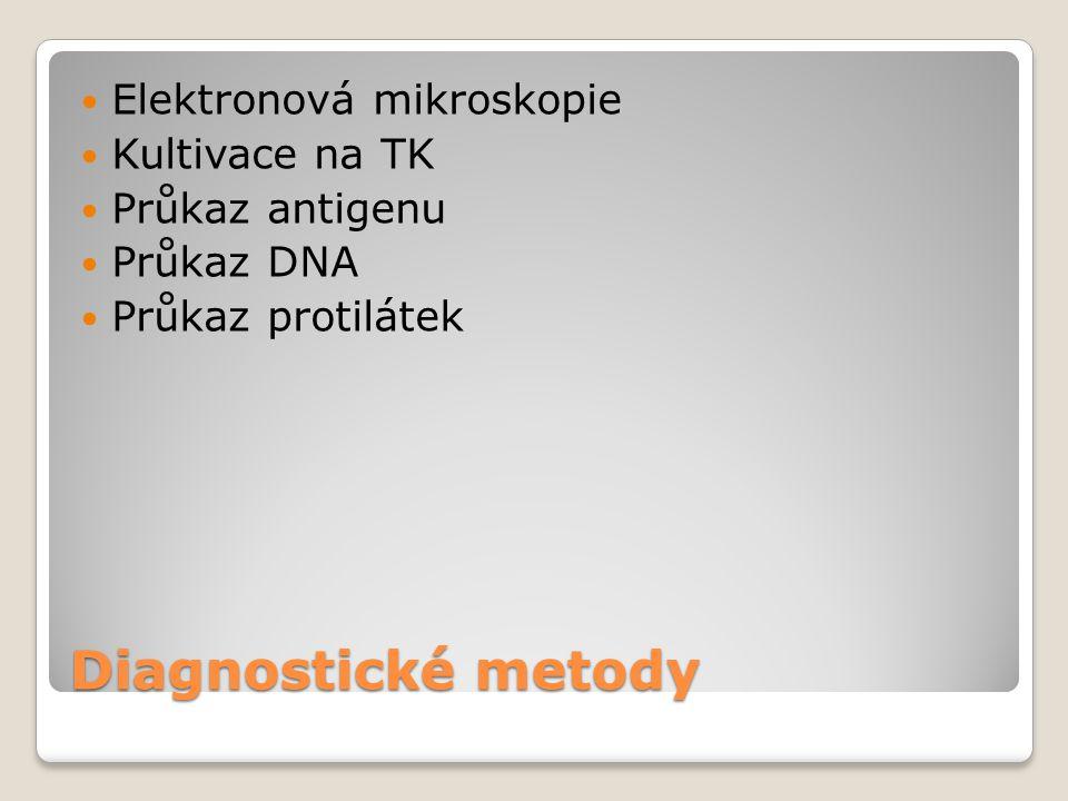 Diagnostické metody  Elektronová mikroskopie  Kultivace na TK  Průkaz antigenu  Průkaz DNA  Průkaz protilátek