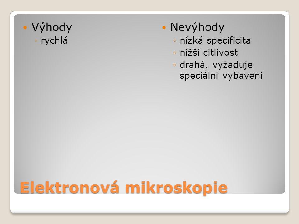 Elektronová mikroskopie  Výhody ◦rychlá  Nevýhody ◦nízká specificita ◦nižší citlivost ◦drahá, vyžaduje speciální vybavení