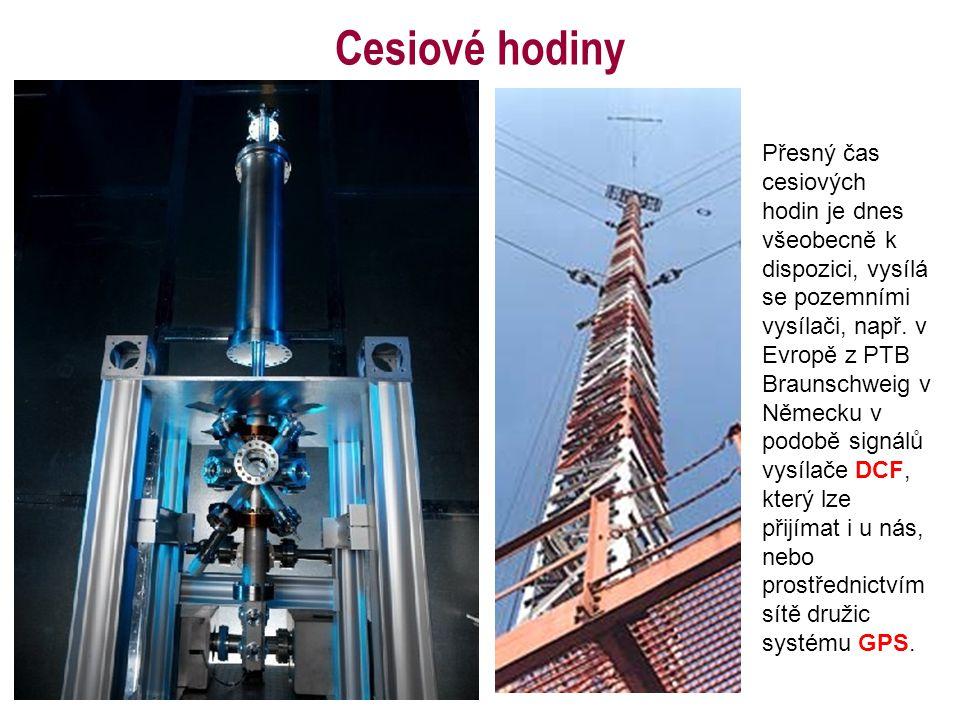 Cesiové hodiny Přesný čas cesiových hodin je dnes všeobecně k dispozici, vysílá se pozemními vysílači, např.