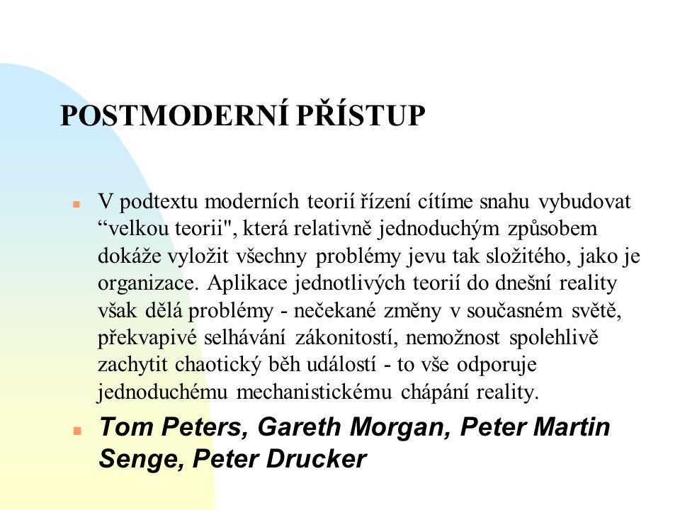 """POSTMODERNÍ PŘÍSTUP  V podtextu moderních teorií řízení cítíme snahu vybudovat """"velkou teorii"""