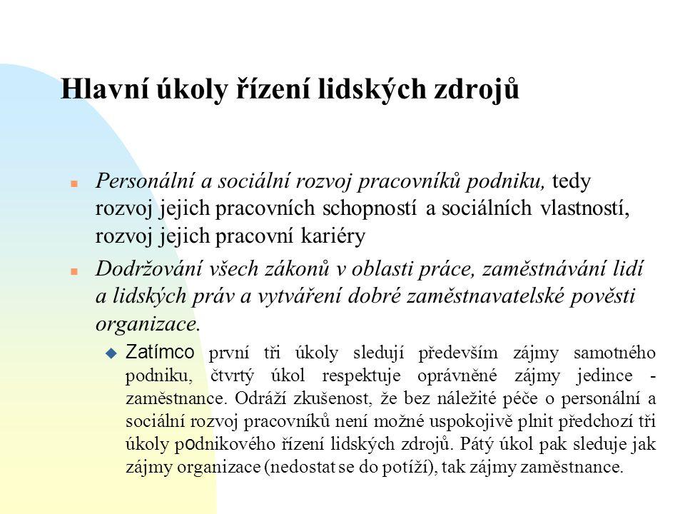 Hlavní úkoly řízení lidských zdrojů  Personální a sociální rozvoj pracovníků podniku, tedy rozvoj jejich pracovních schopností a sociálních vlastnost
