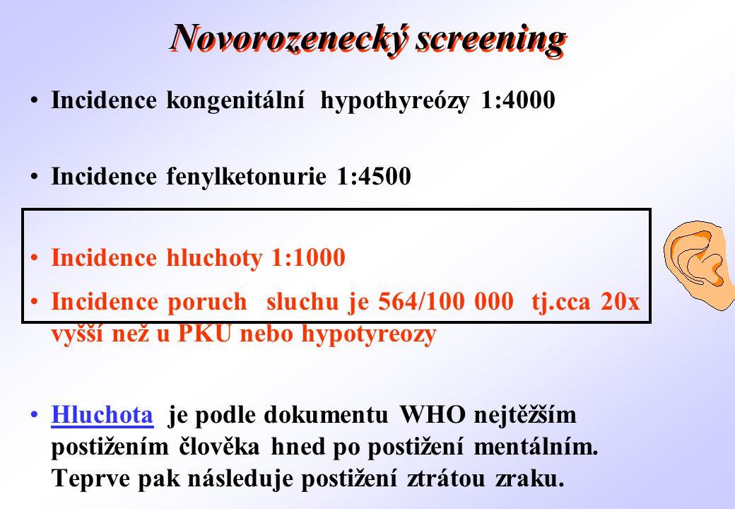Novorozenecký screening •Incidence kongenitální hypothyreózy 1:4000 •Incidence fenylketonurie 1:4500 •Incidence hluchoty 1:1000 •Incidence poruch sluc
