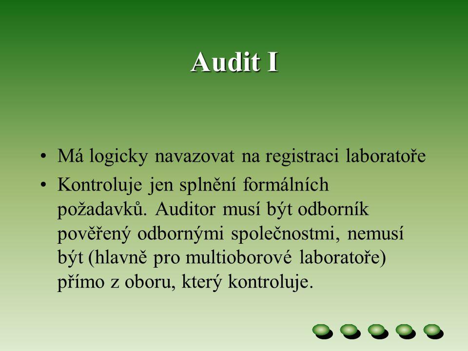 Audit I •Má logicky navazovat na registraci laboratoře •Kontroluje jen splnění formálních požadavků.