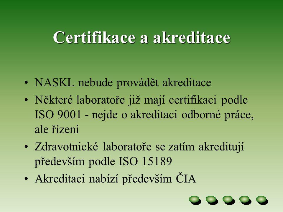 Certifikace a akreditace •NASKL nebude provádět akreditace •Některé laboratoře již mají certifikaci podle ISO 9001 - nejde o akreditaci odborné práce, ale řízení •Zdravotnické laboratoře se zatím akreditují především podle ISO 15189 •Akreditaci nabízí především ČIA