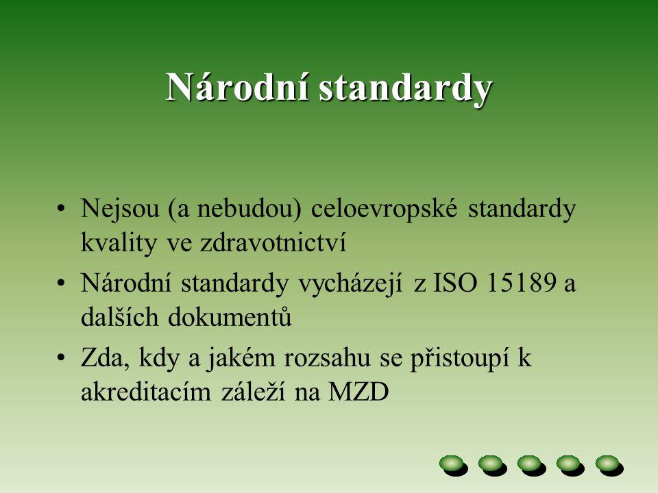 Národní standardy •Nejsou (a nebudou) celoevropské standardy kvality ve zdravotnictví •Národní standardy vycházejí z ISO 15189 a dalších dokumentů •Zda, kdy a jakém rozsahu se přistoupí k akreditacím záleží na MZD