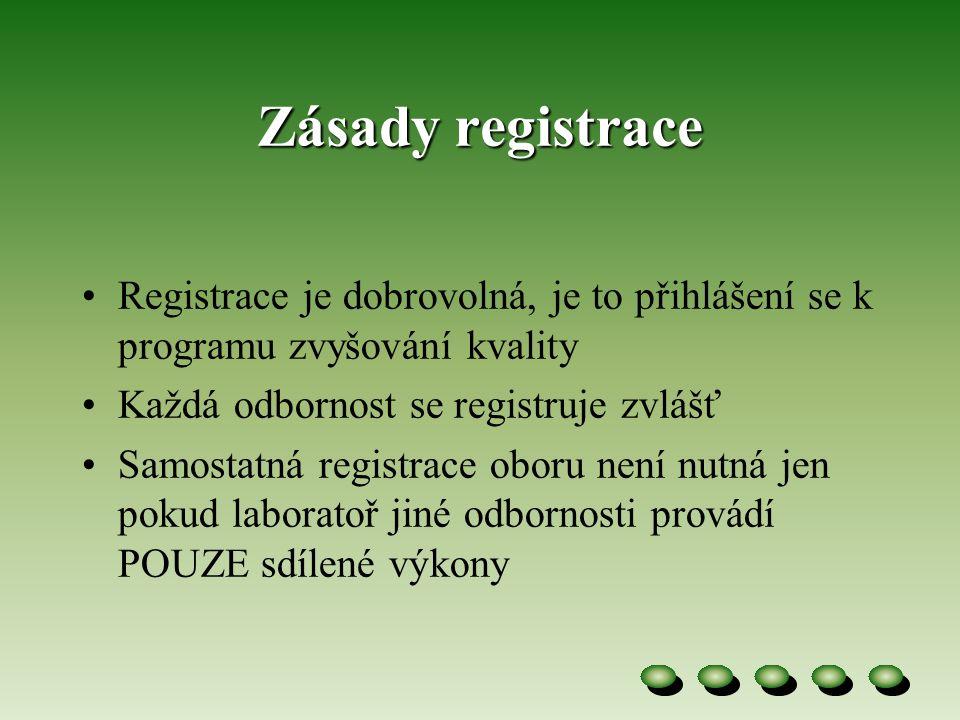 Zásady registrace •Registrace je dobrovolná, je to přihlášení se k programu zvyšování kvality •Každá odbornost se registruje zvlášť •Samostatná registrace oboru není nutná jen pokud laboratoř jiné odbornosti provádí POUZE sdílené výkony