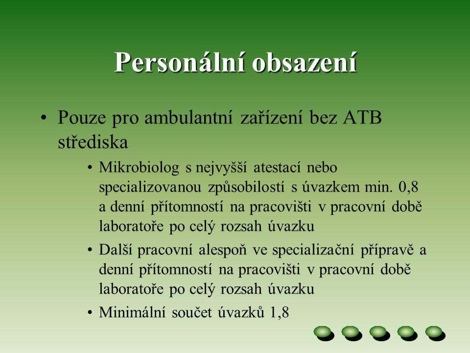 Personální obsazení •Pouze pro ambulantní zařízení bez ATB střediska •Mikrobiolog s nejvyšší atestací nebo specializovanou způsobilostí s úvazkem min.