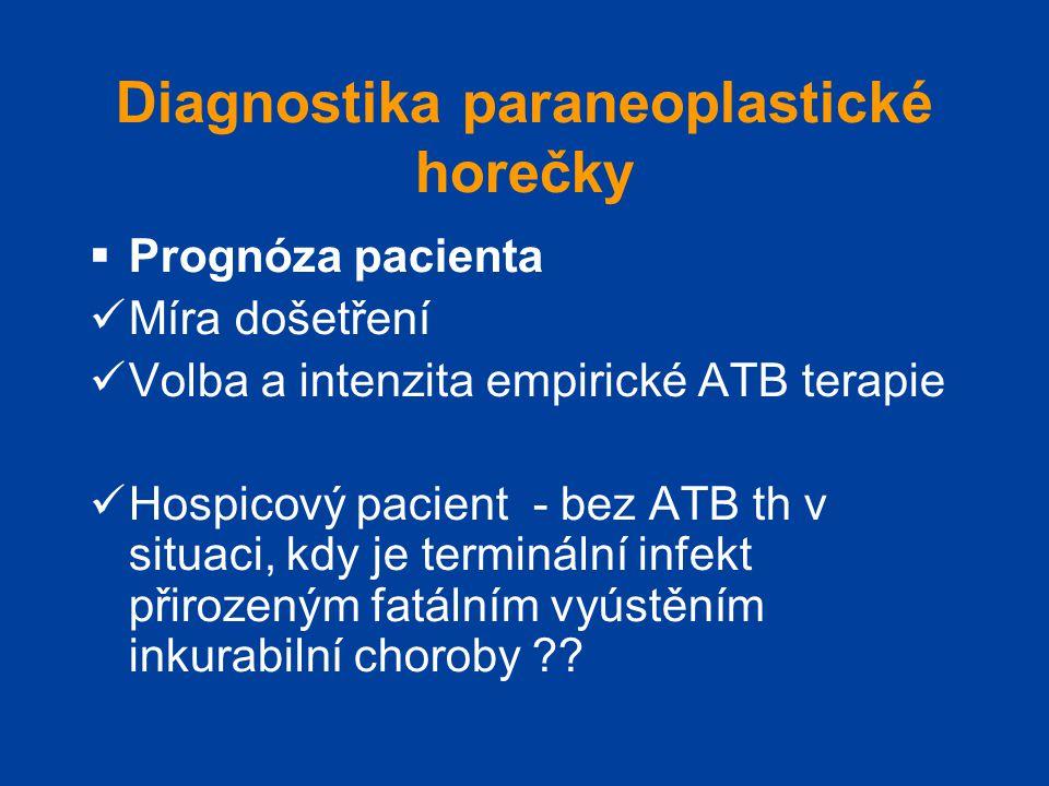 Diagnostika paraneoplastické horečky  Prognóza pacienta  Míra došetření  Volba a intenzita empirické ATB terapie  Hospicový pacient - bez ATB th v