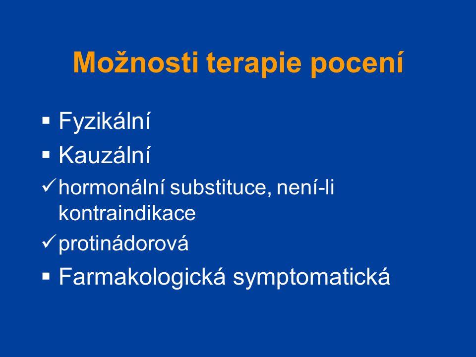 Možnosti terapie pocení  Fyzikální  Kauzální  hormonální substituce, není-li kontraindikace  protinádorová  Farmakologická symptomatická