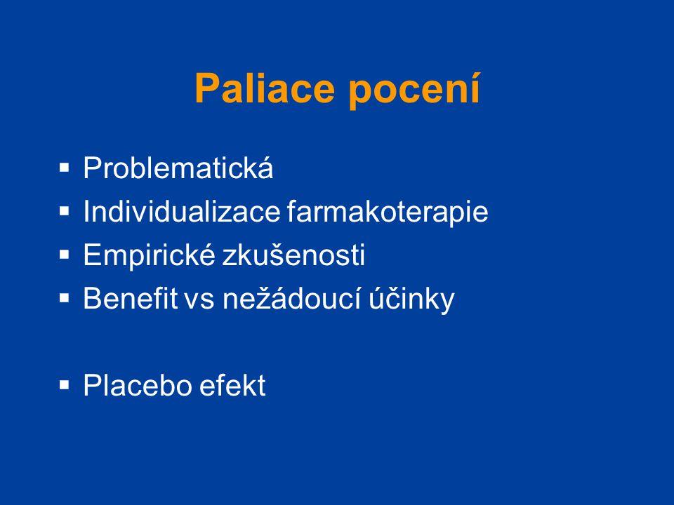 Paliace pocení  Problematická  Individualizace farmakoterapie  Empirické zkušenosti  Benefit vs nežádoucí účinky  Placebo efekt