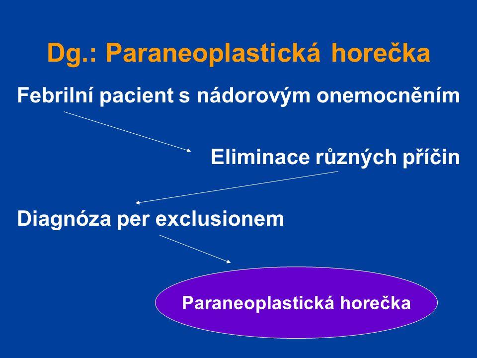 Dg.: Paraneoplastická horečka Febrilní pacient s nádorovým onemocněním Eliminace různých příčin Diagnóza per exclusionem Paraneoplastická horečka