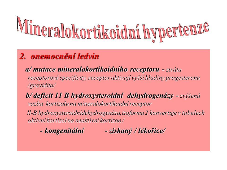 2. onemocnění ledvin a/ mutace mineralokortikoidního receptoru - ztráta receptorové specificity, receptor aktivují vyšší hladiny progesteronu /gravidi