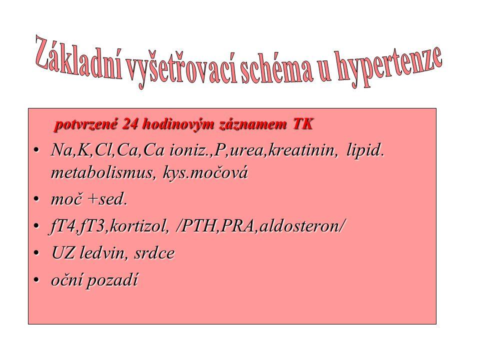 potvrzené 24 hodinovým záznamem TK potvrzené 24 hodinovým záznamem TK •Na,K,Cl,Ca,Ca ioniz.,P,urea,kreatinin, lipid. metabolismus, kys.močová •moč +se