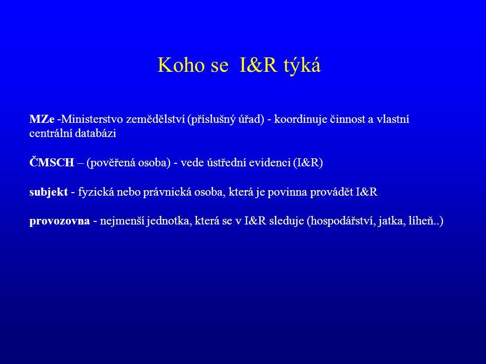 Předávání dat do databáze MZe cílový stav ČMSCH SVS ČR ČPI SZIF MZe IZR - integrovaný zemědělský registr ….