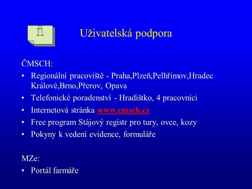 Uživatelská podpora ČMSCH: •Regionální pracoviště - Praha,Plzeň,Pelhřimov,Hradec Králové,Brno,Přerov, Opava •Telefonické poradenství - Hradištko, 4 pr